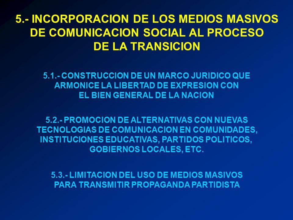 5.- INCORPORACION DE LOS MEDIOS MASIVOS DE COMUNICACION SOCIAL AL PROCESO DE LA TRANSICION 5.1.- CONSTRUCCION DE UN MARCO JURIDICO QUE ARMONICE LA LIB