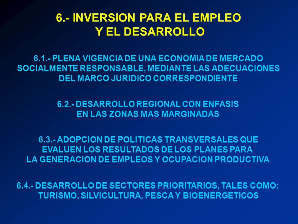 6.- INVERSION PARA EL EMPLEO Y EL DESARROLLO 6.1.- PLENA VIGENCIA DE UNA ECONOMIA DE MERCADO SOCIALMENTE RESPONSABLE, MEDIANTE LAS ADECUACIONES DEL MA