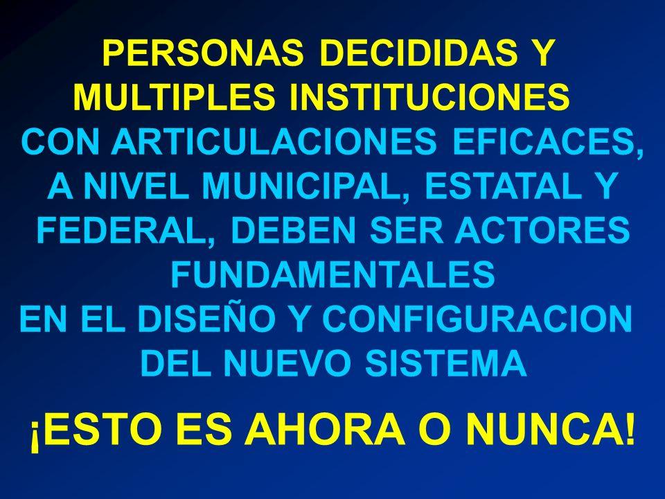 PERSONAS DECIDIDAS Y MULTIPLES INSTITUCIONES CON ARTICULACIONES EFICACES, A NIVEL MUNICIPAL, ESTATAL Y FEDERAL, DEBEN SER ACTORES FUNDAMENTALES EN EL