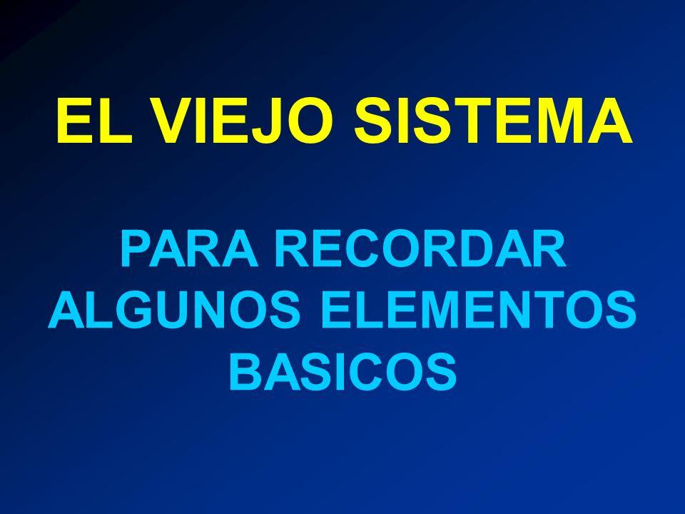 PARA RECORDAR ALGUNOS ELEMENTOS BASICOS EL VIEJO SISTEMA