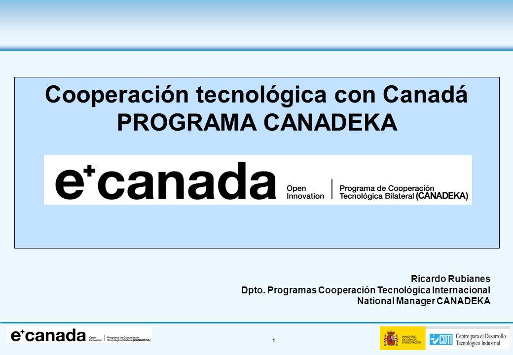 1 Cooperación tecnológica con Canadá PROGRAMA CANADEKA Ricardo Rubianes Dpto. Programas Cooperación Tecnológica Internacional National Manager CANADEK