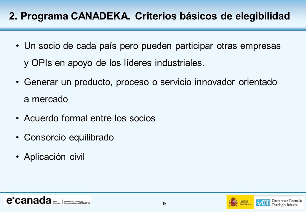 15 Un socio de cada país pero pueden participar otras empresas y OPIs en apoyo de los líderes industriales. Generar un producto, proceso o servicio in