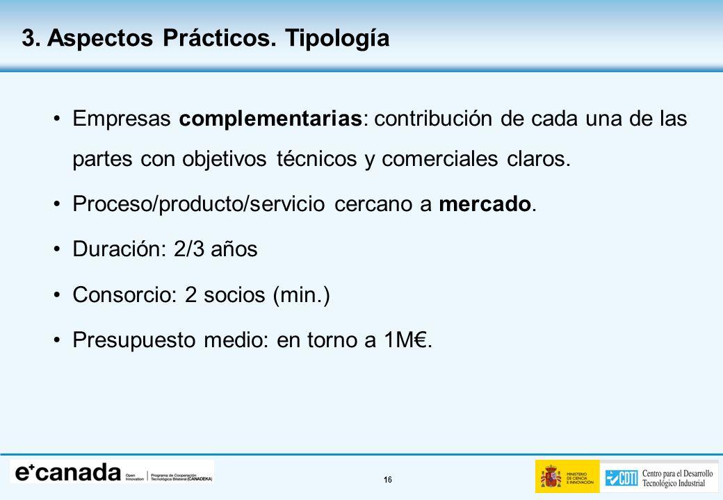 16 Empresas complementarias: contribución de cada una de las partes con objetivos técnicos y comerciales claros. Proceso/producto/servicio cercano a m