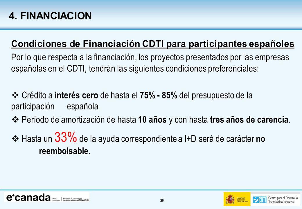 20 Condiciones de Financiación CDTI para participantes españoles Por lo que respecta a la financiación, los proyectos presentados por las empresas esp