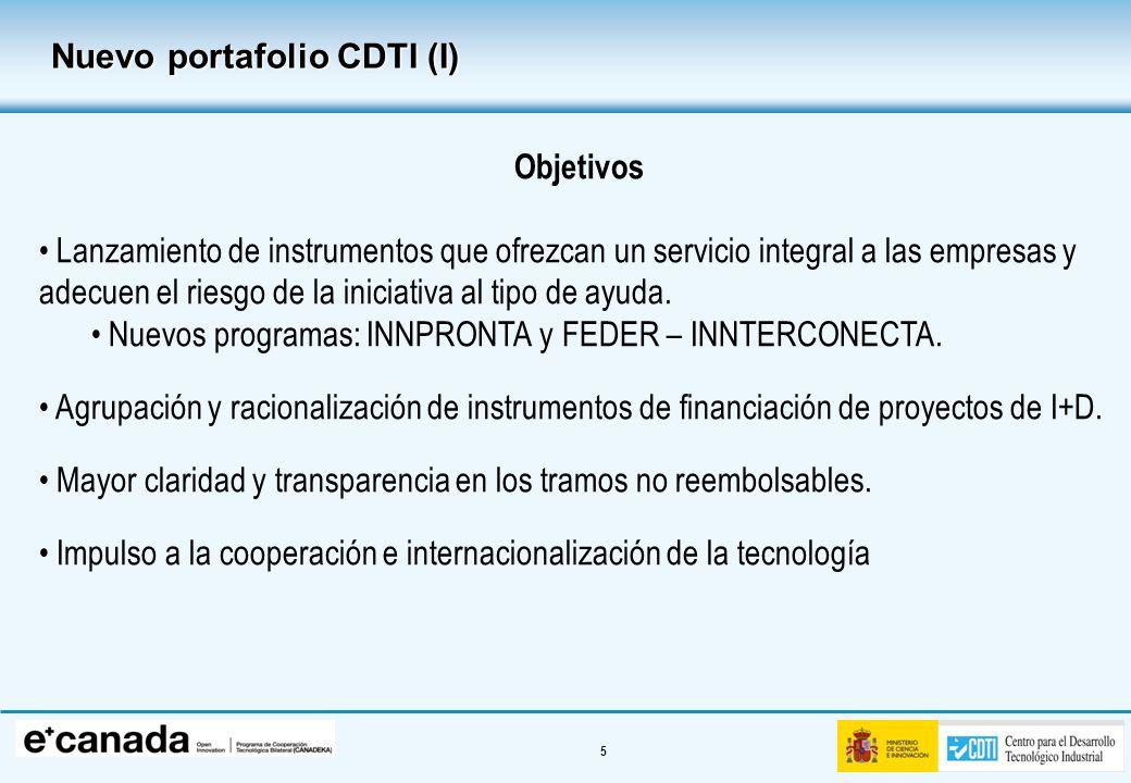 5 Nuevo portafolio CDTI (I) Objetivos Lanzamiento de instrumentos que ofrezcan un servicio integral a las empresas y adecuen el riesgo de la iniciativ