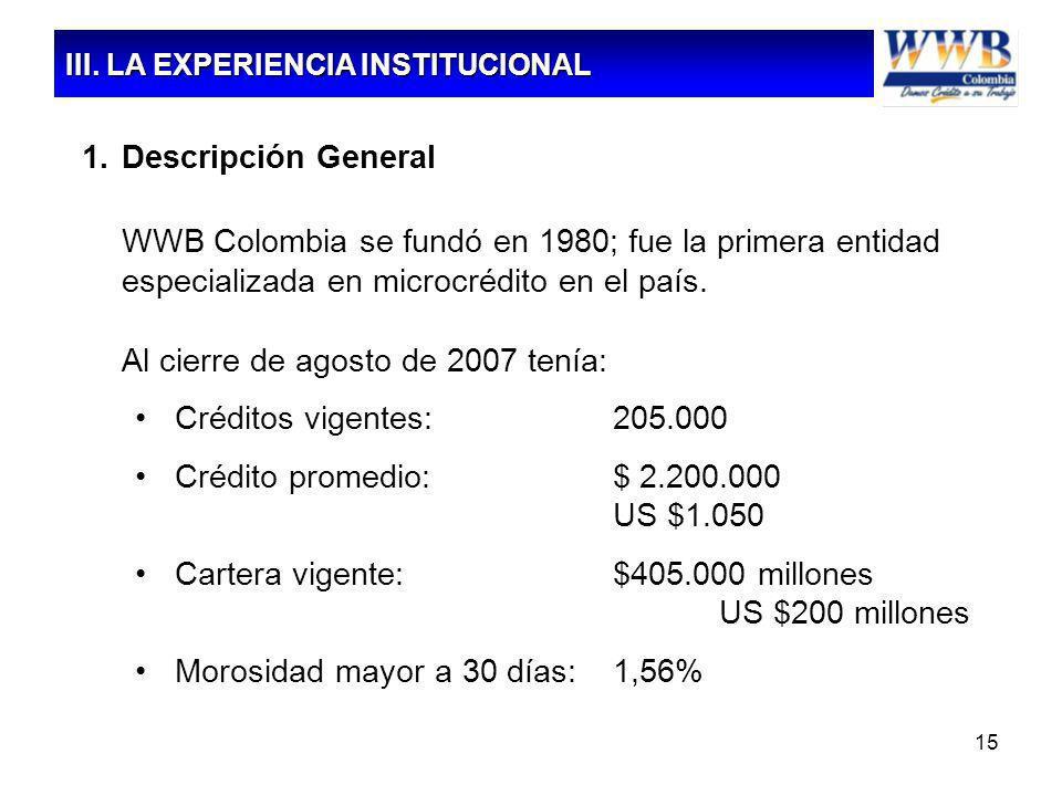 15 1.Descripción General WWB Colombia se fundó en 1980; fue la primera entidad especializada en microcrédito en el país. Al cierre de agosto de 2007 t