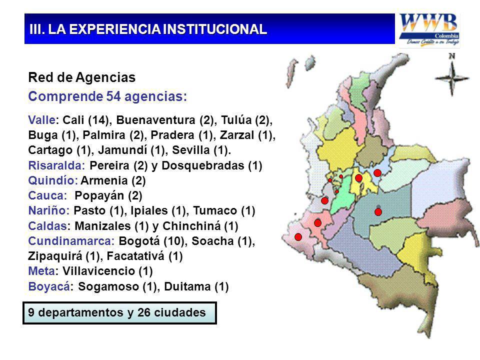 16 Red de Agencias Comprende 54 agencias: Valle: Cali (14), Buenaventura (2), Tulúa (2), Buga (1), Palmira (2), Pradera (1), Zarzal (1), Cartago (1),