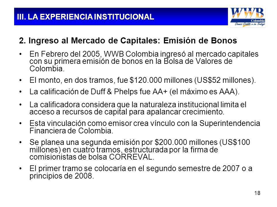 18 2. Ingreso al Mercado de Capitales: Emisión de Bonos En Febrero del 2005, WWB Colombia ingresó al mercado capitales con su primera emisión de bonos