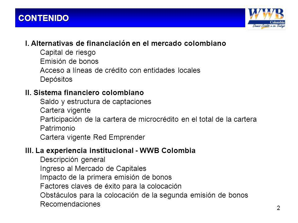 2 I. Alternativas de financiación en el mercado colombiano Capital de riesgo Emisión de bonos Acceso a líneas de crédito con entidades locales Depósit