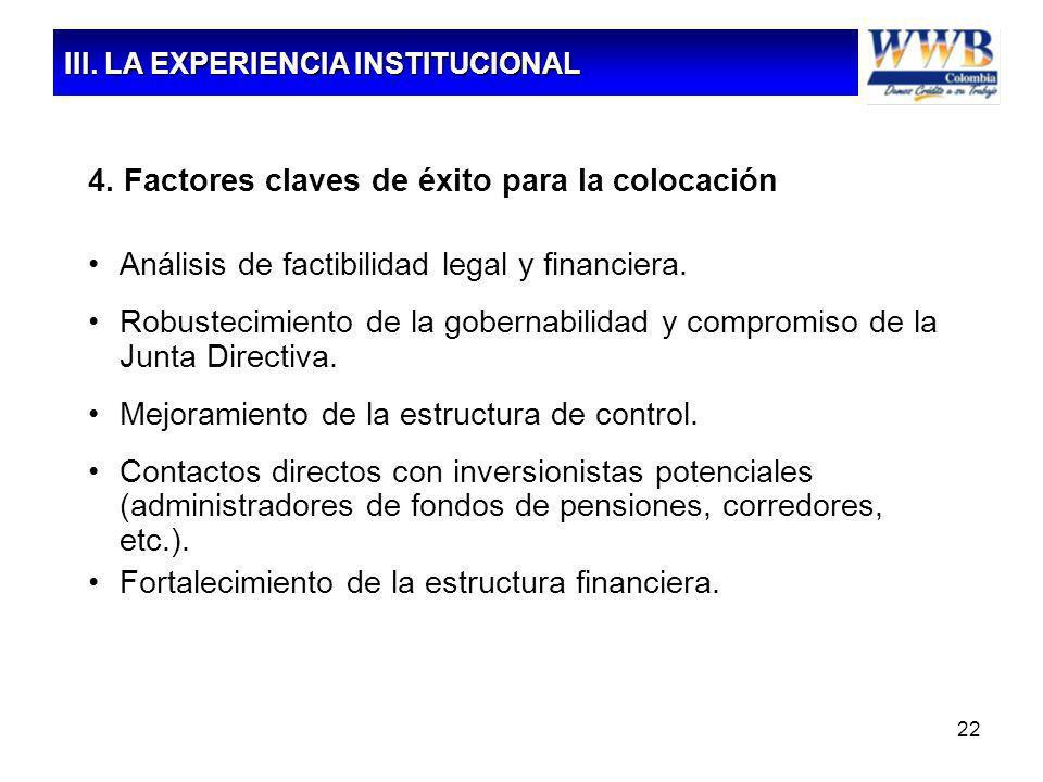 22 4. Factores claves de éxito para la colocación Análisis de factibilidad legal y financiera. Robustecimiento de la gobernabilidad y compromiso de la