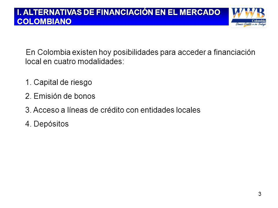3 En Colombia existen hoy posibilidades para acceder a financiación local en cuatro modalidades: 1. Capital de riesgo 2. Emisión de bonos 3. Acceso a