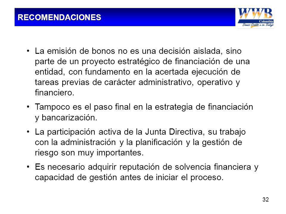 32 La emisión de bonos no es una decisión aislada, sino parte de un proyecto estratégico de financiación de una entidad, con fundamento en la acertada
