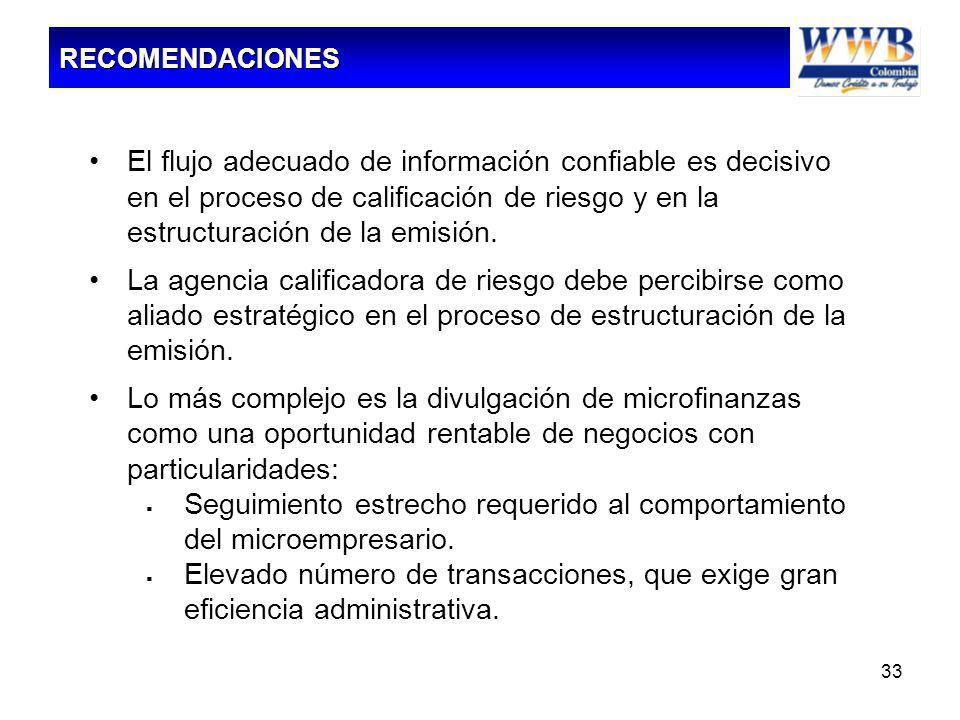 33 El flujo adecuado de información confiable es decisivo en el proceso de calificación de riesgo y en la estructuración de la emisión. La agencia cal