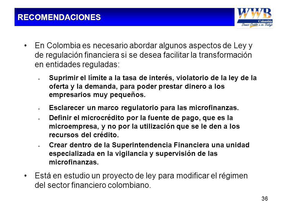 36 En Colombia es necesario abordar algunos aspectos de Ley y de regulación financiera si se desea facilitar la transformación en entidades reguladas: