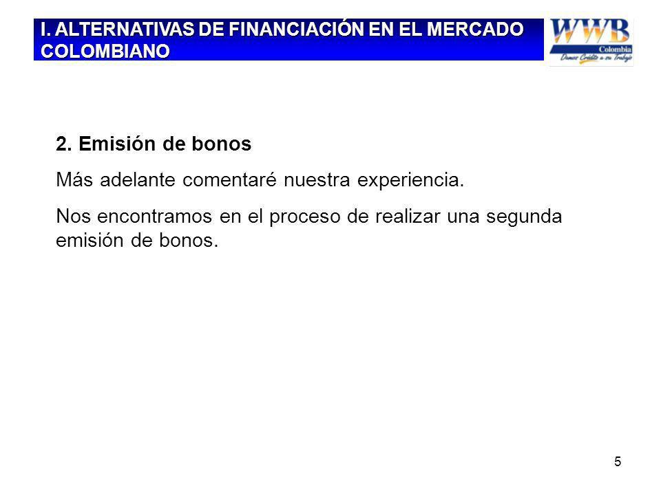 5 2. Emisión de bonos Más adelante comentaré nuestra experiencia. Nos encontramos en el proceso de realizar una segunda emisión de bonos. I. ALTERNATI