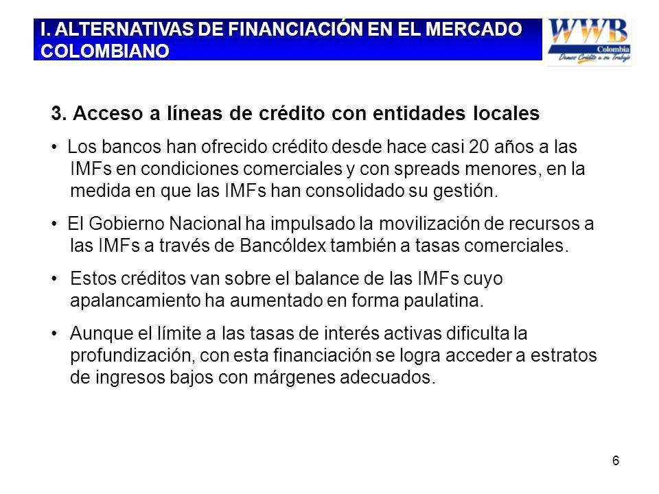 6 3. Acceso a líneas de crédito con entidades locales Los bancos han ofrecido crédito desde hace casi 20 años a las IMFs en condiciones comerciales y