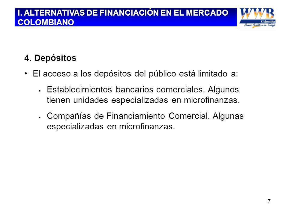 7 4. Depósitos El acceso a los depósitos del público está limitado a: Establecimientos bancarios comerciales. Algunos tienen unidades especializadas e