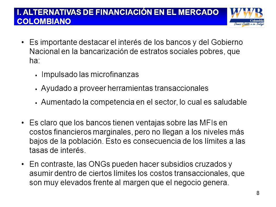 8 Es importante destacar el interés de los bancos y del Gobierno Nacional en la bancarización de estratos sociales pobres, que ha: Impulsado las micro