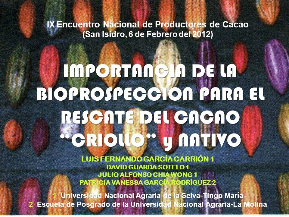 IX Encuentro Nacional de Productores de Cacao (San Isidro, 6 de Febrero del 2012) IMPORTANCIA DE LA BIOPROSPECCION PARA EL RESCATE DEL CACAO CRIOLLO y