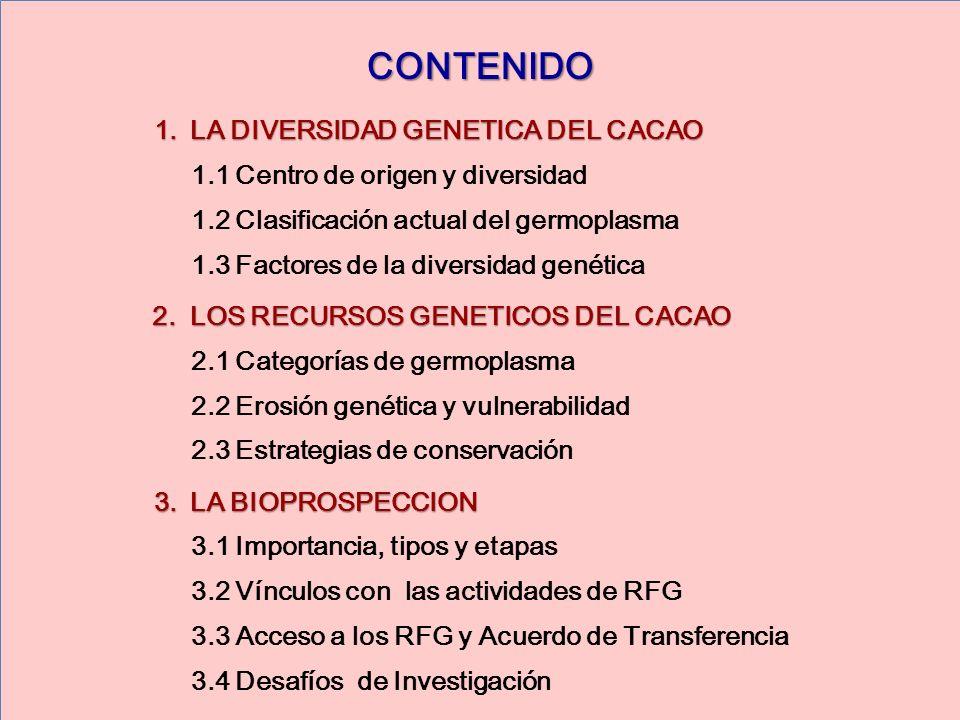 CONTENIDO 1.LA DIVERSIDAD GENETICA DEL CACAO 1.1 Centro de origen y diversidad 1.2 Clasificación actual del germoplasma 1.3 Factores de la diversidad