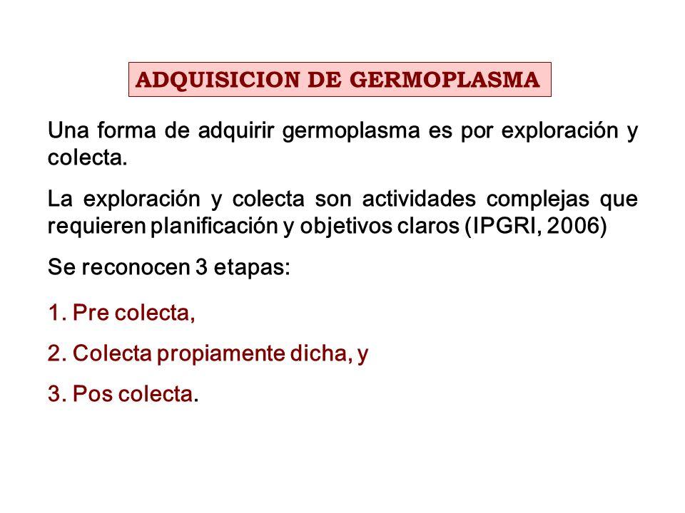Una forma de adquirir germoplasma es por exploración y colecta. La exploración y colecta son actividades complejas que requieren planificación y objet
