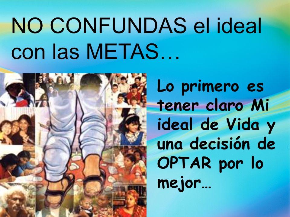 NO CONFUNDAS el ideal con las METAS… Lo primero es tener claro Mi ideal de Vida y una decisión de OPTAR por lo mejor…