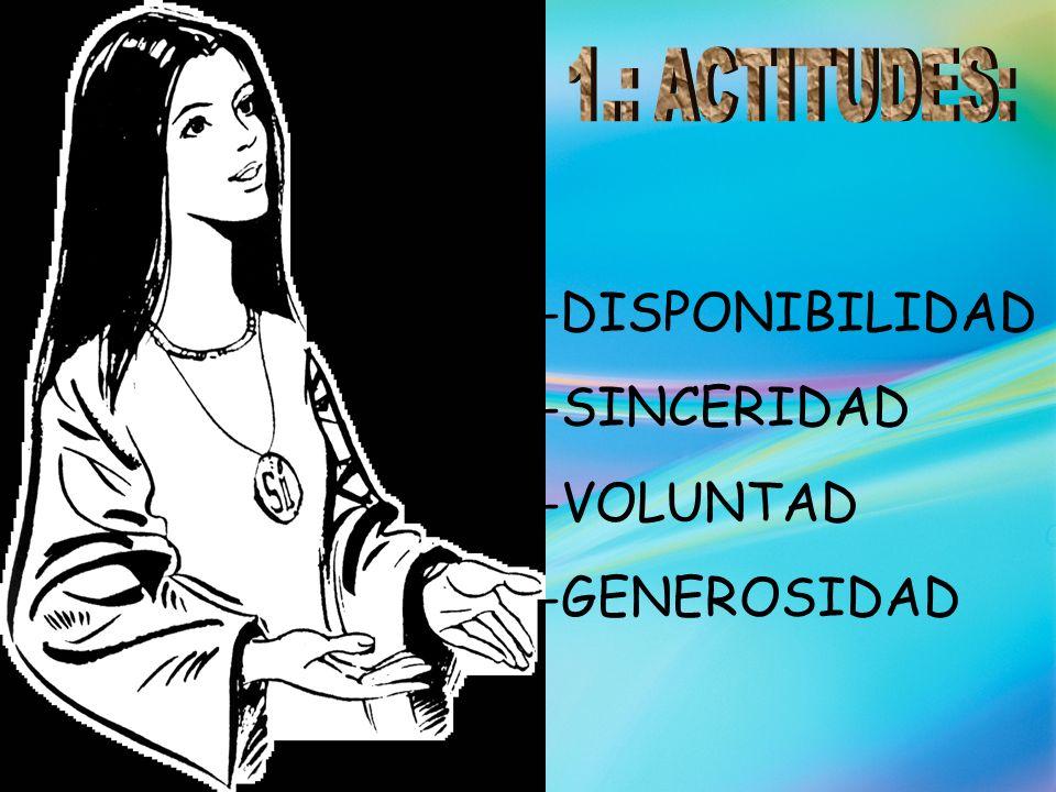 -DISPONIBILIDAD -SINCERIDAD -VOLUNTAD -GENEROSIDAD