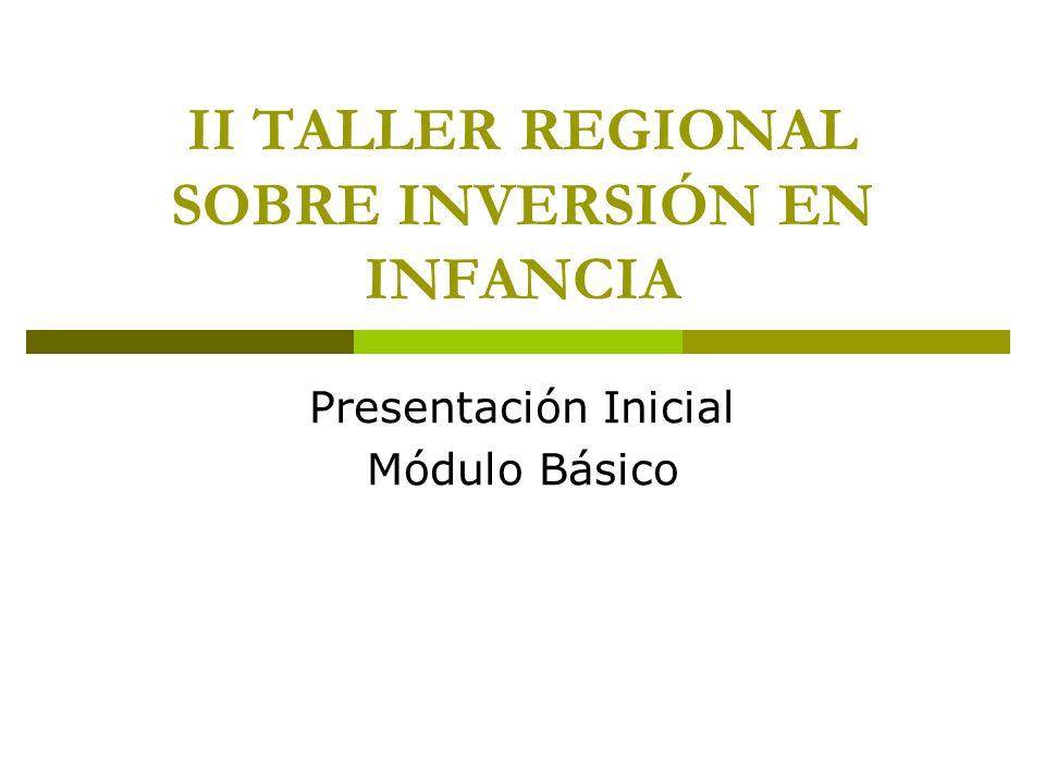 II TALLER REGIONAL SOBRE INVERSIÓN EN INFANCIA Presentación Inicial Módulo Básico