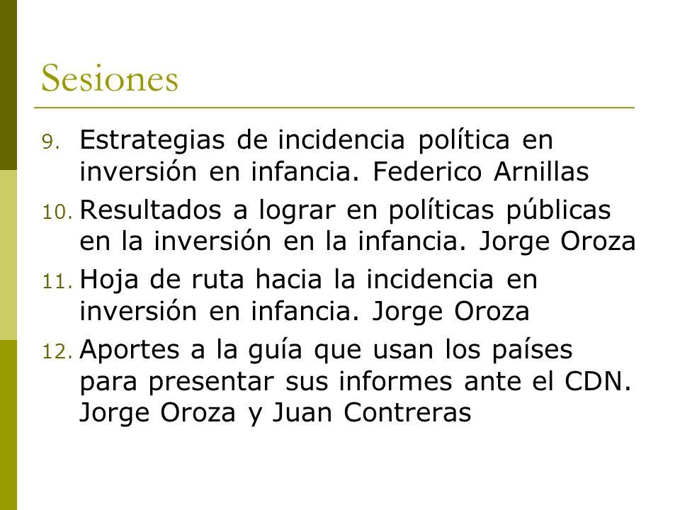 Sesiones 9. Estrategias de incidencia política en inversión en infancia. Federico Arnillas 10. Resultados a lograr en políticas públicas en la inversi