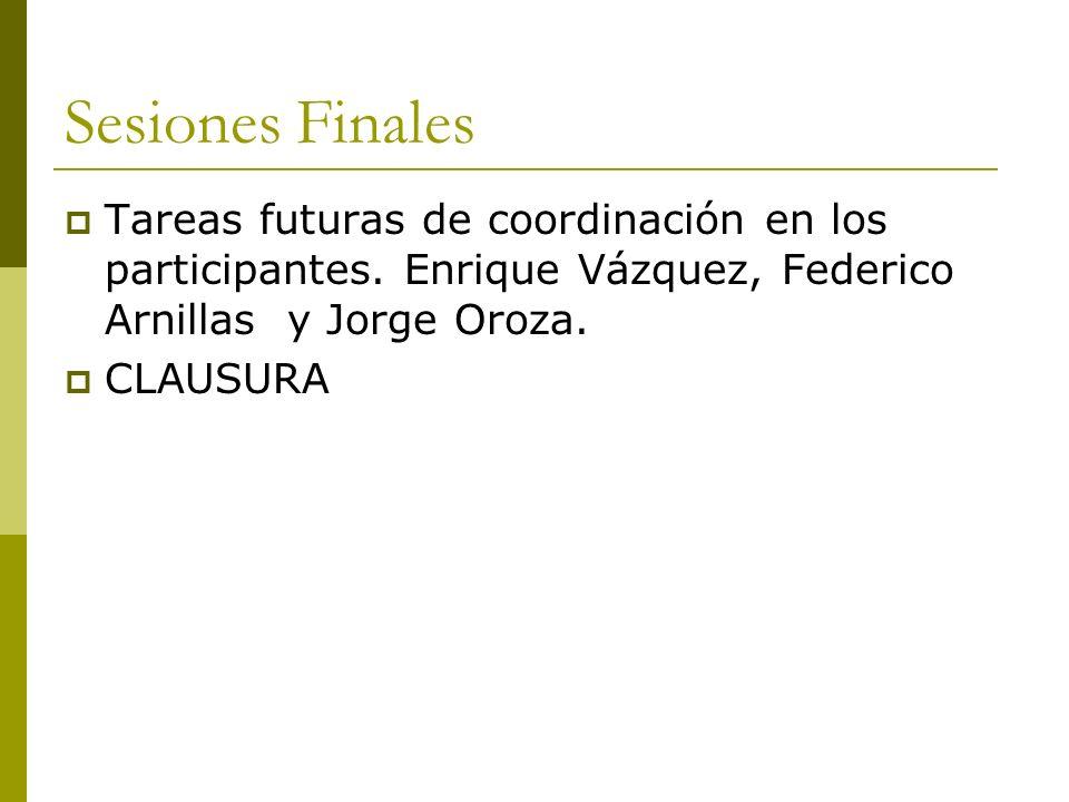 Sesiones Finales Tareas futuras de coordinación en los participantes. Enrique Vázquez, Federico Arnillas y Jorge Oroza. CLAUSURA