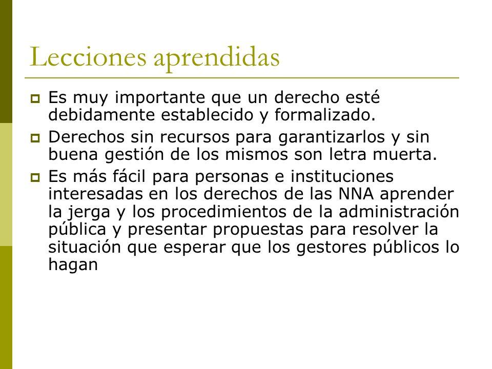 Lecciones aprendidas Es muy importante que un derecho esté debidamente establecido y formalizado.
