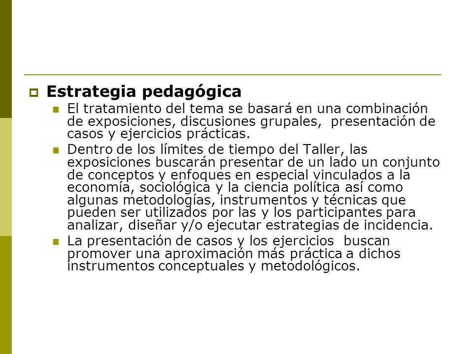 Estrategia pedagógica El tratamiento del tema se basará en una combinación de exposiciones, discusiones grupales, presentación de casos y ejercicios prácticas.