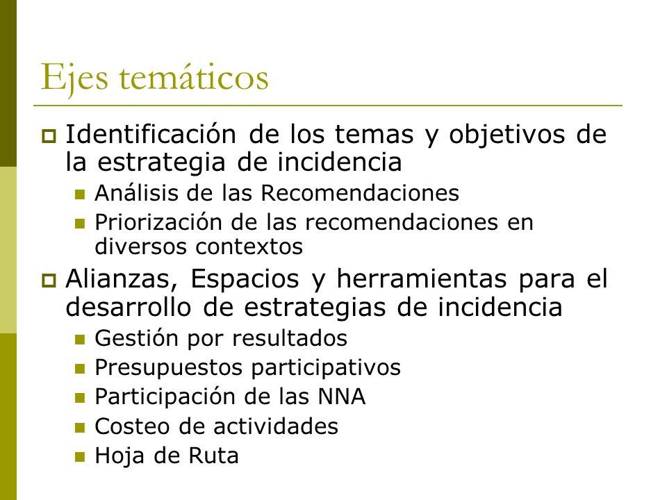 Ejes temáticos Identificación de los temas y objetivos de la estrategia de incidencia Análisis de las Recomendaciones Priorización de las recomendaciones en diversos contextos Alianzas, Espacios y herramientas para el desarrollo de estrategias de incidencia Gestión por resultados Presupuestos participativos Participación de las NNA Costeo de actividades Hoja de Ruta