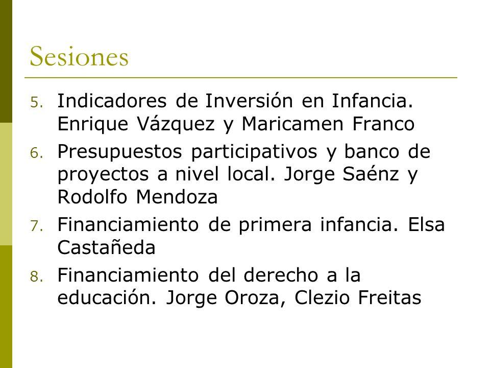 Sesiones 5. Indicadores de Inversión en Infancia. Enrique Vázquez y Maricamen Franco 6. Presupuestos participativos y banco de proyectos a nivel local