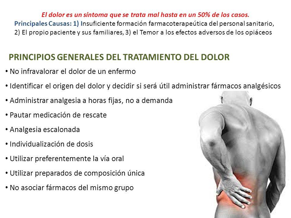 PRINCIPIOS GENERALES DEL TRATAMIENTO DEL DOLOR El dolor es un síntoma que se trata mal hasta en un 50% de los casos. Principales Causas: 1) Insuficien