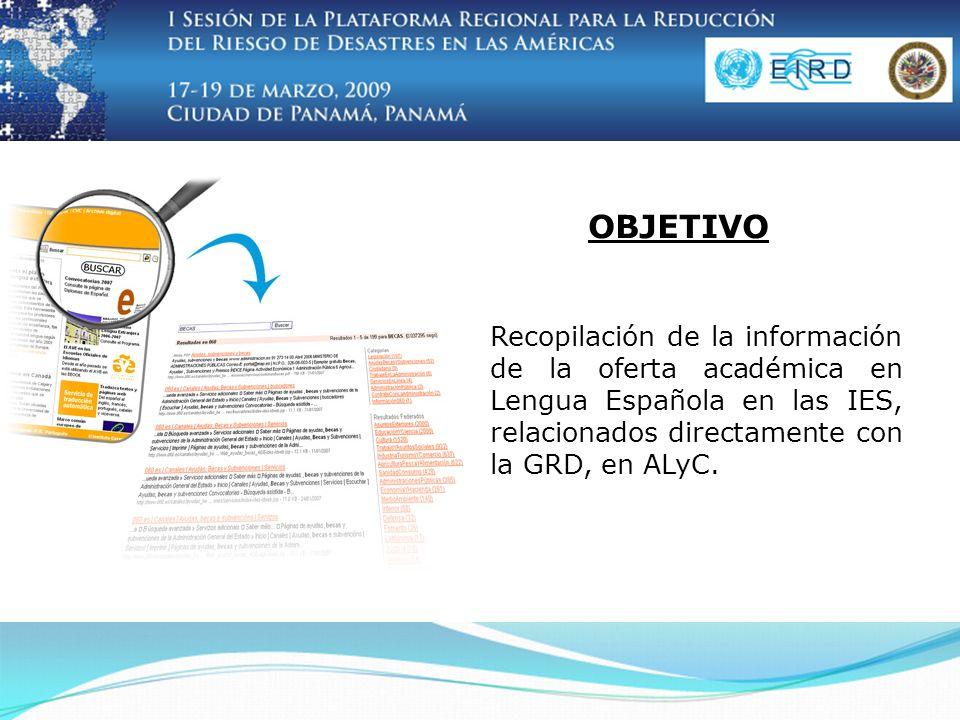 Recopilación de la información de la oferta académica en Lengua Española en las IES, relacionados directamente con la GRD, en ALyC.