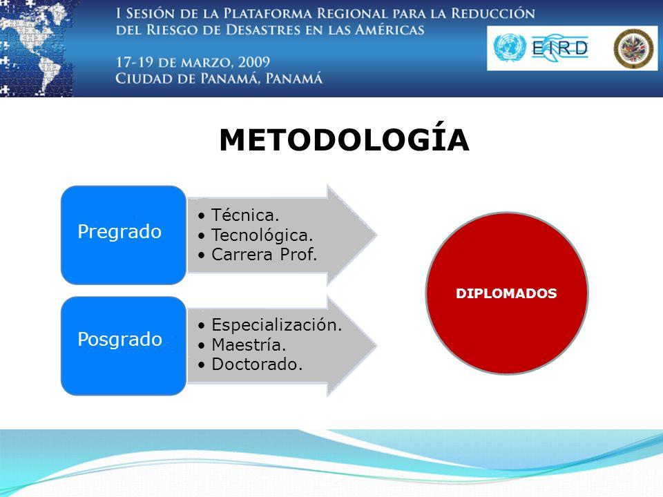 METODOLOGÍA DIPLOMADOS Pregrado Posgrado Técnica. Tecnológica.