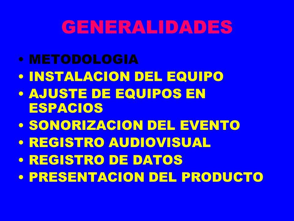 GENERALIDADES METODOLOGIA INSTALACION DEL EQUIPO AJUSTE DE EQUIPOS EN ESPACIOS SONORIZACION DEL EVENTO REGISTRO AUDIOVISUAL REGISTRO DE DATOS PRESENTACION DEL PRODUCTO