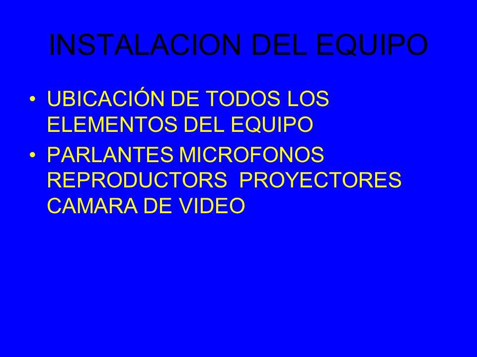 INSTALACION DEL EQUIPO UBICACIÓN DE TODOS LOS ELEMENTOS DEL EQUIPO PARLANTES MICROFONOS REPRODUCTORS PROYECTORES CAMARA DE VIDEO