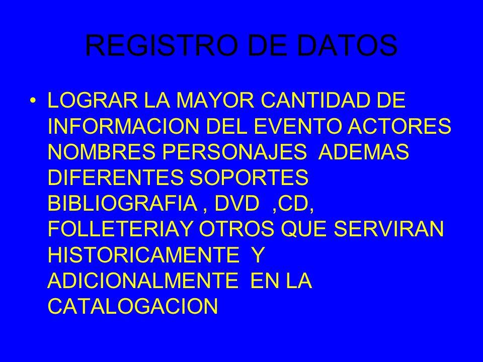 REGISTRO DE DATOS LOGRAR LA MAYOR CANTIDAD DE INFORMACION DEL EVENTO ACTORES NOMBRES PERSONAJES ADEMAS DIFERENTES SOPORTES BIBLIOGRAFIA, DVD,CD, FOLLETERIAY OTROS QUE SERVIRAN HISTORICAMENTE Y ADICIONALMENTE EN LA CATALOGACION