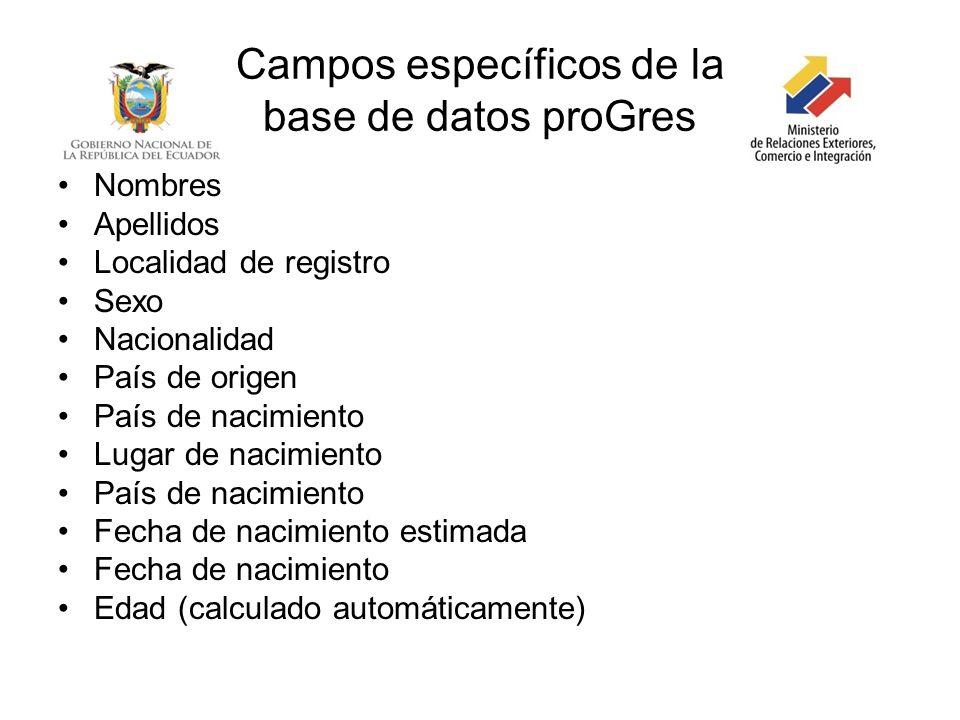 Campos específicos de la base de datos proGres Nombres Apellidos Localidad de registro Sexo Nacionalidad País de origen País de nacimiento Lugar de na