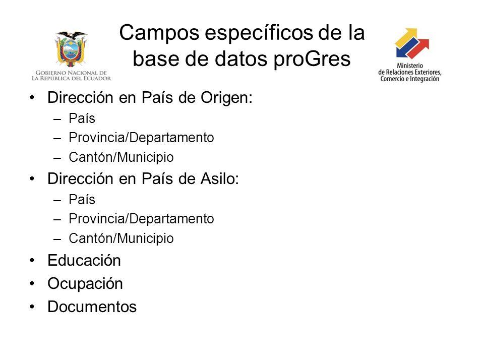 Campos específicos de la base de datos proGres Dirección en País de Origen: –País –Provincia/Departamento –Cantón/Municipio Dirección en País de Asilo