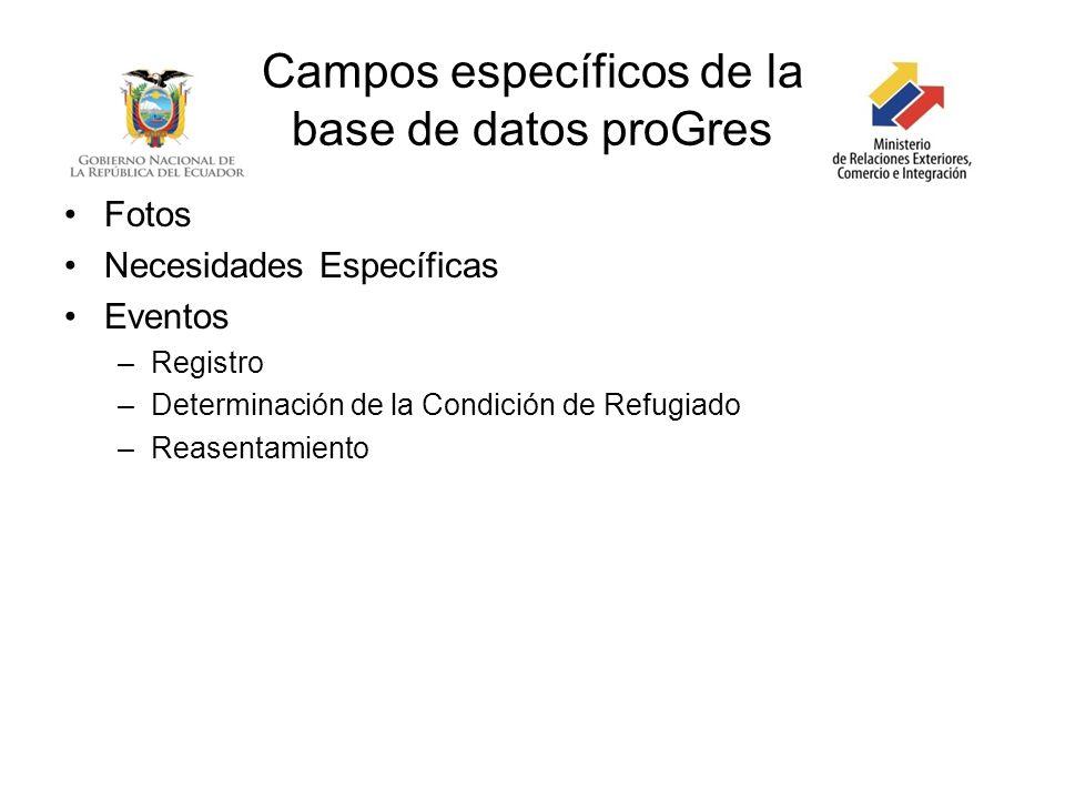 Campos específicos de la base de datos proGres Fotos Necesidades Específicas Eventos –Registro –Determinación de la Condición de Refugiado –Reasentami