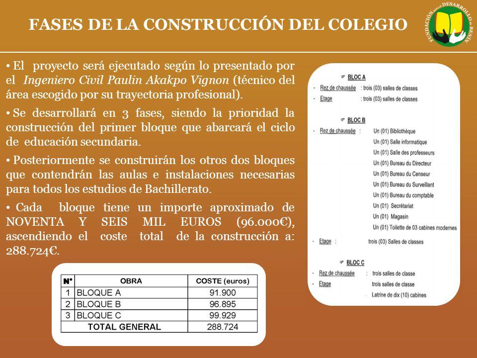 FASES DE LA CONSTRUCCIÓN DEL COLEGIO El proyecto será ejecutado según lo presentado por el Ingeniero Civil Paulin Akakpo Vignon (técnico del área esco