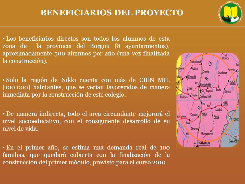 BENEFICIARIOS DEL PROYECTO Los beneficiarios directos son todos los alumnos de esta zona de la provincia del Borgou (8 ayuntamientos), aproximadamente