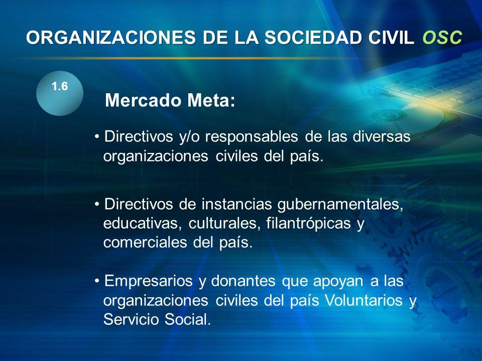 1.6 Directivos y/o responsables de las diversas organizaciones civiles del país. Directivos de instancias gubernamentales, educativas, culturales, fil