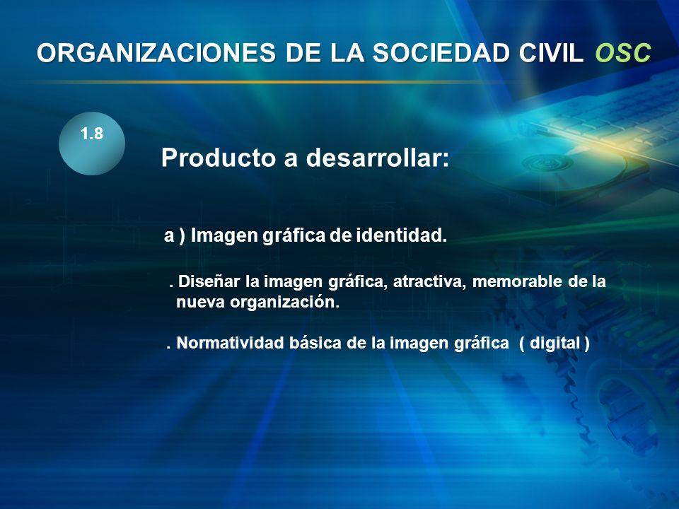 1.8 Producto a desarrollar: a ) Imagen gráfica de identidad.. Diseñar la imagen gráfica, atractiva, memorable de la nueva organización.. Normatividad