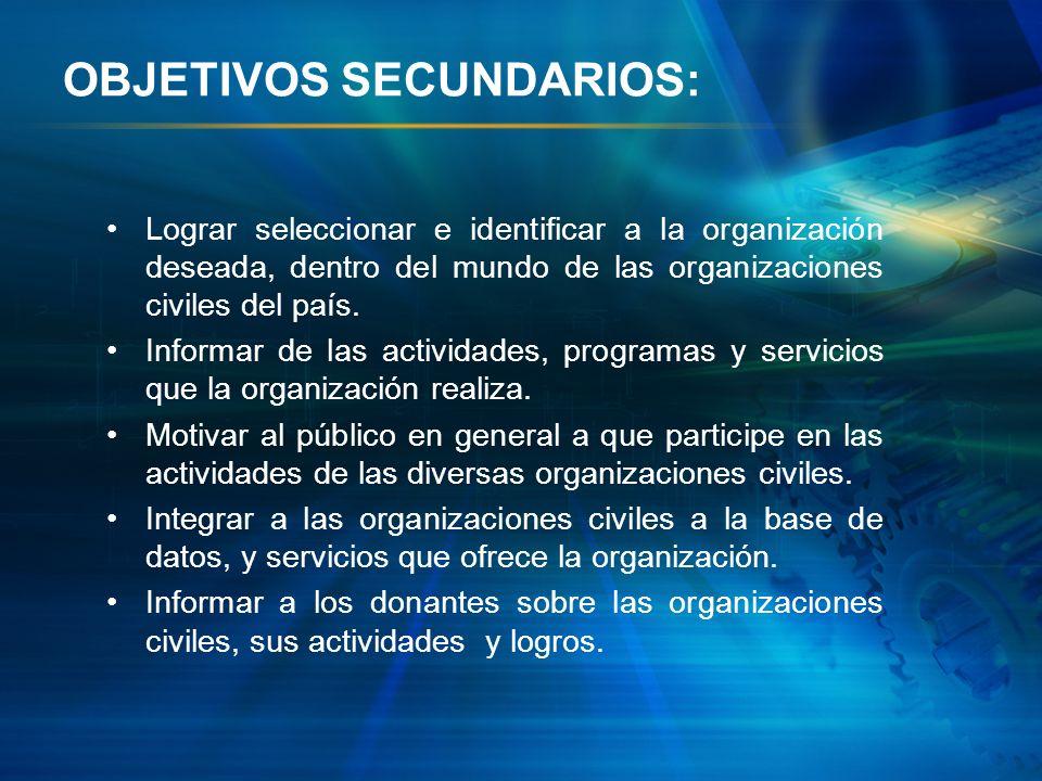 OBJETIVOS SECUNDARIOS: Lograr seleccionar e identificar a la organización deseada, dentro del mundo de las organizaciones civiles del país. Informar d