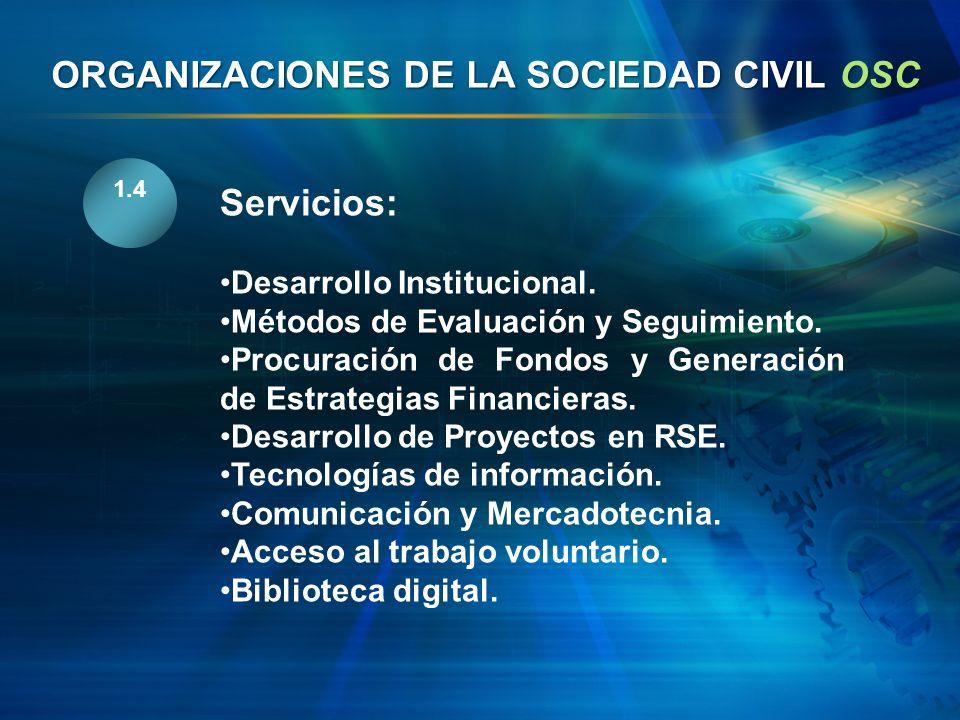 1.4 Servicios: Desarrollo Institucional. Métodos de Evaluación y Seguimiento. Procuración de Fondos y Generación de Estrategias Financieras. Desarroll