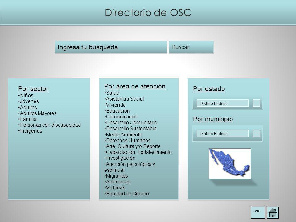 Directorio de OSC osc Buscar Ingresa tu búsqueda Por área de atención Salud Asistencia Social Vivienda Educación Comunicación Desarrollo Comunitario D